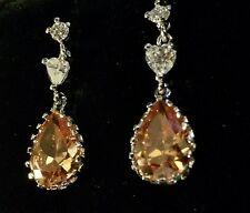 A04 Sim diamond +honey pear topaz 18ct white gold GF drop dangle earrings BOXED