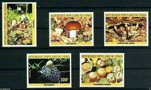 Congo Republic Sc 742-746 Mushroom Stamps  MNH