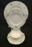 Syracuse China Celeste 4 Piece Place Setting White w/ Blue Leaves Platinum Trim