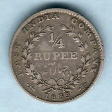 India. 1835 William 1111 - 1/4 Rupee..  No Initial..  F+