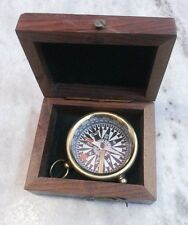 Antique Vintage Brass Compass With Wooden Box