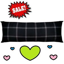 💗 LARGE Mainstays Body Pillow Black Plaid Striped Stuffed Filled Pillows
