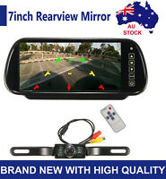 "170° Reversing Camera Car Rear View Kit 7"" LED Mirror Monitor Reverse Parking IR"