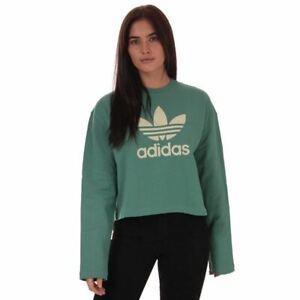 Women's adidas Originals Premium Cropped Crew Neck Cotton Sweatshirt in Green