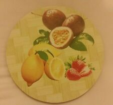 1 RARE Natural Bamboo Heat Pad, Kitchen Decor, FRUITS, round