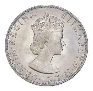 Choice BU Unc 1964 Bermuda 1 Crown Silver Coin - Mint State *765