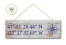 """Latitude Longitude Sign, Personalized 5.5""""x17"""" White Wash Style, GPS Coordinates"""
