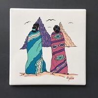 "Native American Indian Women in Blanket Pottery Art Southwestern Tile 7¾"" Signed"