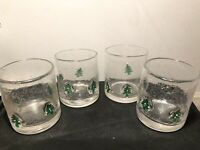 Set Of 4 Controlled Bubble Glass Christmas Tree Tumbler/Rocks/Cocktail Glasses