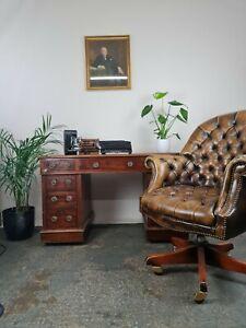 Antique Mahogany Twin Pedestal Leather Top Desk, & captains Chair