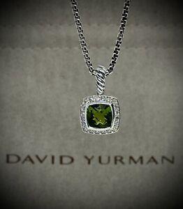 David Yurman Petite Albion Pendant with Peridot and Diamonds