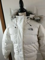 The North Face 550 White Faux Fur Hooded Goose Down Puffer Jacket Size XS