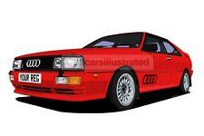 AUDI QUATTRO GRAPHIC CAR ART PRINT (SIZE A3). PERSONALISE IT!