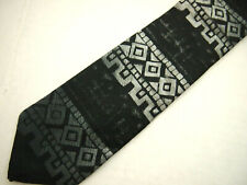 "Bugle Boy Mens Necktie Tie Black Gray Geometric Abstract Skinny Vintage 56"""