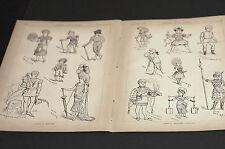 Carnival Costume Sketches CLOWN HARLEQUIN LITTLE BOY BLUE 1881 Centerfold Print