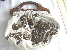 """Ladies BNWT """"Per Una (Marks & Spencer) Beige & Brown Embroidery Bag"""