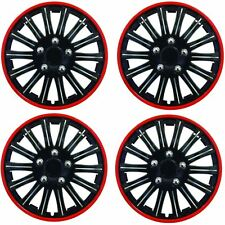 "Streetwize Car Wheel Trim Set 14"" Black Red Ring Rims Set Of 4 Hub Caps Covers"