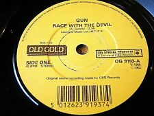 "GUN - RACE WITH A DEVIL / RAM JAM - BLACK BETTY  7"" OLD GOLD VINYL"