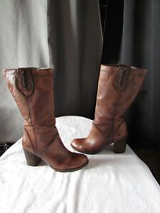 bottes felmini cuir  marron 38