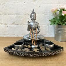 Sitting Buddha Tea Light Votive Candle & Incense Stick Holder Ornament Tray Gift