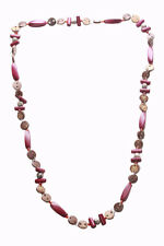 Charismatic- Burgundy Red Wooden Beads & Brown Button Long Necklace(Zx194)