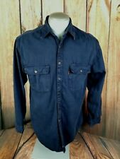 Levi's Mens Button Front Shirt Red Tab Size Med Blue Metal Buttons Heavy Cotton