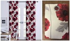 Red Poppy Floral Printed Eyelet Ring Top Cotton Fully Lined Curtains Red Flower