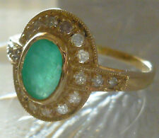 ART-DECO 9ct SOLID GOLD HUGE 2.10 CT EMERALD & DIAMOND SI/G Ring  R14