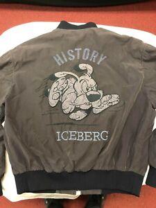 Iceberg History Men's Vintage Woof Dog Jacket Bomber SZ 48 Medium Charcoal