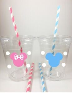 Mickey Minnie Mouse Gender Reveal Party Cups Set/12 Baby Pink Blue Lids Straws