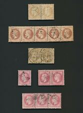 FRANCE STAMPS 1863-1870 NAPOLEON USED MULTIPLES STUDY, INC Yv #26x5 #27b CANCELS