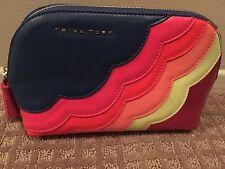Trina Turk NWT rainbow Leather tassel smooth vinyl cosmetic bag