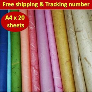 20x Mulberry Paper Sheets Thin Translucent Tissue Lightweight Unryu Wrapping A4