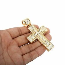 Mens 14k Gold Plated Iced Out Hip Hop Large 3Layer Cross Stainless Steel Pendant