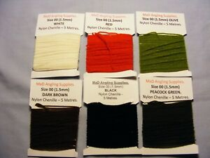 5m Pack of 1.5mm Nylon Chenille in ASSORTED COLOURS pick from menu Fly Tying