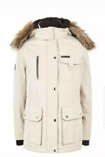 CL14# New Look Womens Stone Faux Fur Parka Coat Uk 10