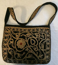 BLACK VELVET GOLD EMBROIDERED INDIA TOTE BAG- PRICE REDUCTION