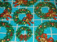 New ListingVtg Christmas Wrapping Paper Gift Wrap 1960 Window Pane Wreath Bells Nos