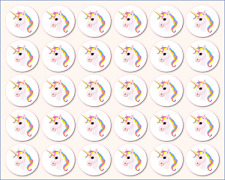 30 Mini Rainbow Unicorn Edible Circle Cupcake Toppers Images Fairy Decoration