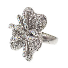 Fashion Flower Floral Paved Cocktail Rings Crystals Costume Jewelry Clear 3d #6