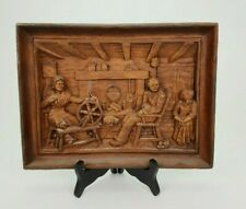 Vintage SIC France Resin Wood Wall Plaque Bas Relief Living Room Scene E/0349