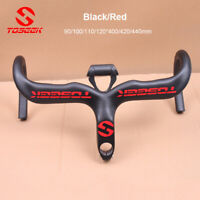 TOSEEK 400/420/440mm Carbon Fiber Road Bike Handlebar Racing Drop Bars Stem