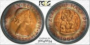 1964 NEW ZEALAND HALF PENNY PCGS MS65RB  RAINBOW CIRCLE TONED NONE GRADED HIGHER