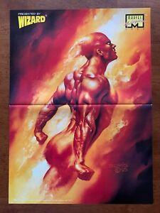 Gambit/Human Torch 2 Sided Poster Wizard Boris Vallejo Art X-men Fantastic Four