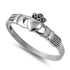 .925 Sterling Silver Ring size 8 Celtic Heart Irish Claddagh Ladies midi New p73