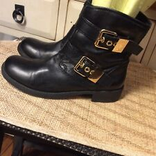 Nine West Vintage America Collection Black Leather Ankle Boots W/Buckles Sz 6M
