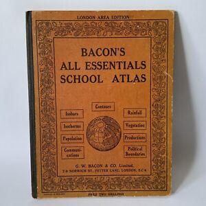 Vintage 1930 Bacon's All Essential School Atlas Map Hardbacked Book London Area