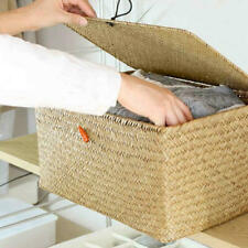Large Square Storage Basket Handmade Woven Seagrass Straw Box Rattan With Lids