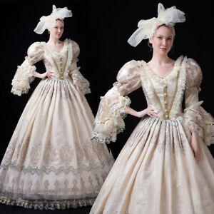 Victorian Dress Maiden Women Royal Ball Gown Costume Gown Reenactment Theater