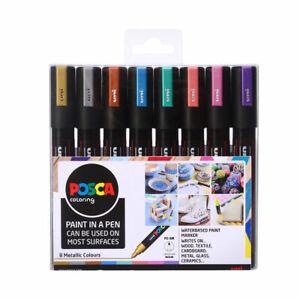 Uni POSCA Paint Markers PC-5M Bullet Tip Set of 8 Metallic Colours